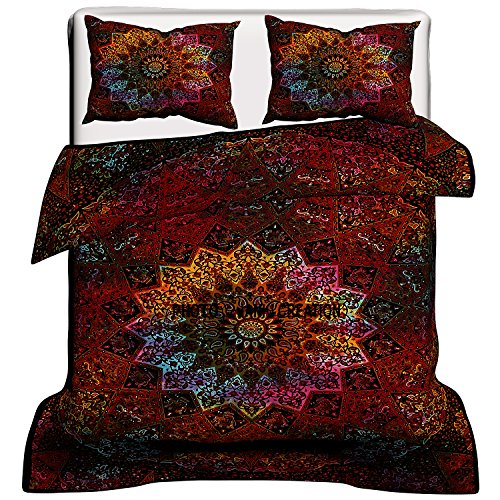 Queen Indian Bettdecke Doona Cover Elefanten Mandala Hippie Bohemian Bettdecke Tröster Baumwolle handgefertigt Bettbezug (80 x 82) Zoll, Bohemian Traditionelle indische Mandala Bettdecke, (Tröster Cover Queen Baumwolle)