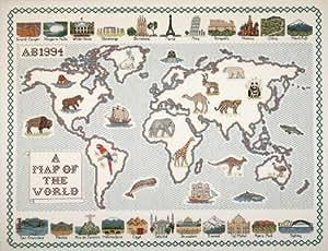 Carte du monde-aida 14 fils/cm² de broderie au point de croix Motif map