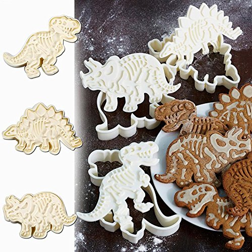 Connectwide® Dinosaur Fossil Cookie Making Molds/Stamps - Set of 3-Pieces PVC Cream Chocolate Decoration Molds - DIY Baking Mould for Fondant Cake/Biscuit/Play Doh Arts