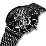 CIVO Herren Schwarz Uhr Multifunktions Datum Kalender Wasserdicht Quarzuhr Mode Luxus Lässige Luxus Sport Armbanduhr für Jugendliche Herren Edelstahl Mesh Armband mit Federstegwerkzeu
