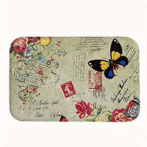 whiangfsoo Vintage floreale farfalla cucina e bagno porta tappetini Capet,