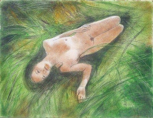 Originale Malerei, Bleistift Zeichnung und Aquarell,
