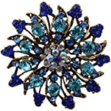 YAZILIND Womens Fancy Vintage Golden Crystal Rhinestone Bling Flower Fashion Brooch Pin