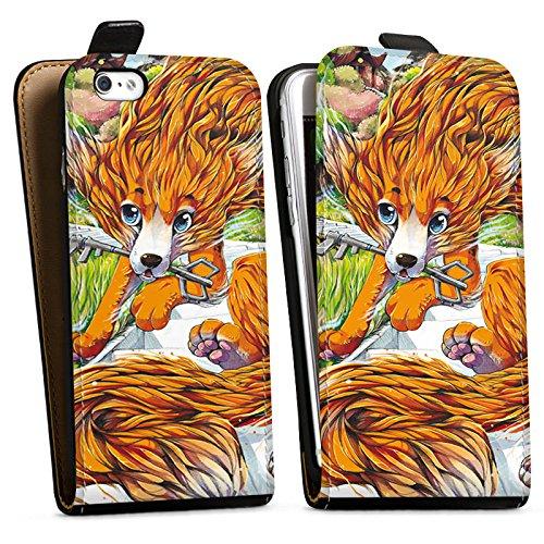 Apple iPhone X Silikon Hülle Case Schutzhülle Fuchs Zeichnung Orange Downflip Tasche schwarz