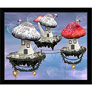 AZ Mushrooms Magic Town Canvas Painting Black Wood Frame 14.2 x 12inch