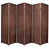 SaleemExpress Schwarz Zusammenklappbar Bast Weave Geflecht Sichtschutz Panel/Raumteiler, Buche, 5 Panel