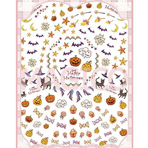 Born Pretty 1 Plaque 3D Sticker Halloween Citrouille Chauve-Souris Nail Art