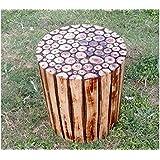 Fancy Shoppee Wooden Beautiful Handmade Log Stool for Living Room,Farm House (Brown)
