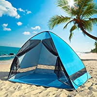 DIOSN Pop Up–Refugio (–UPF 50+ Protección UV Protección Solar Playa Sombra Tienda de campaña Sun Shelter, automático Playa Familia Cabana para Camping Beach Fishing Garden, Azul