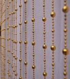 Pindia Strings Leaf Fancy Sparkling Plastic Bead Hanging Curtain - 7ft, Golden