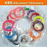 TIANLIANG04 2018 BAPASCO Marke 3D-Pen Filament thread 100 m oder 200 m 1,75 mm ABS 20 verschiedene Farben für den 3D-Druck Kugelschreiber Walzdraht 3D linear, 20 Farbe x10 Meter, China