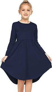 Parabler Mädchen Swing Kleider für Kinder Langarm T-Shirt Kleid A Linie Jerseykleid Einfarbig Basic FatternKleid Festlich Kle