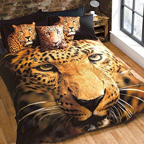 Just Contempo - Juego de funda nórdica y fundas de almohada, diseño de tigre, color negro y dorado, king, dorado, marrón y negro
