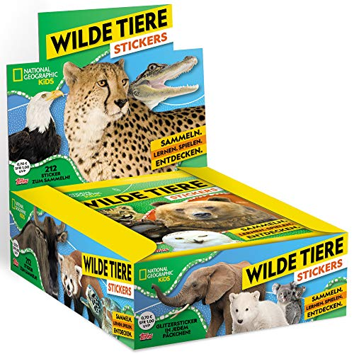 Topps - National Geographic - Wilde Tiere - Sammelsticker - 1 Display (30 Tüten) -