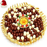 Ghasitaram Gifts Gold Nutties and T-Lite Platter With Santa Cap