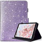 Billionn Samsung Galaxy Tab E 9.6 Hülle mit kostenlosem Pen, Glitzer Bling Premium PU Leder, Stoßfest Ständer Smart Cover für Samsung Galaxy Tab E 9.6-Inch SM - T560/SM- T561, Lila