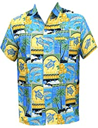 La Leela Hawaiian Island bouton camp manches courtes vers le bas caribbean surfeurs chemise turquoise xs aloha hommes - 5XL
