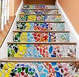 TIANTAI 3D Treppe Aufkleber Moderne Handgezeichnete DIY Renovierte Treppe Aufkleber Selbstklebende Wasserdicht