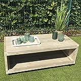 Lounge Tisch mit Rollen Garten Möbel Bauholz 45x120x60cm natur Kleinmöbel