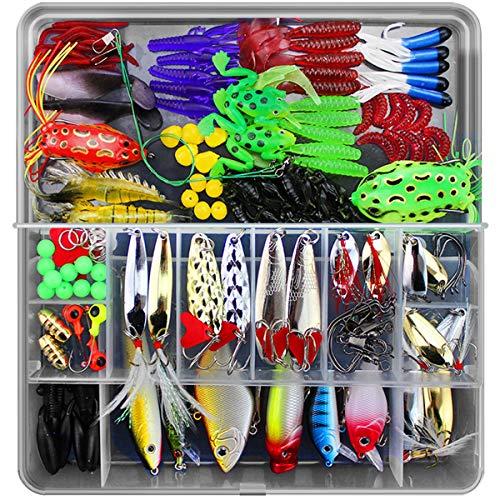 Roseflower kit di esche da pesca, 141pcs esche cucchiaino artificiale pesca richiamo set per trota, persico, luccio spoon kit- esche da spinning accessori con vermi, esche dure, ganci singolo, insetti