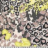 Jersey, Animal-Print, braun/gelb, ca. 150 cm breit,