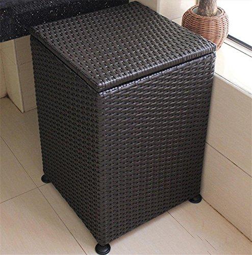 Rattan-peel (GHFDSJHSD Reine handgewebte Plastik Rattan einfache quadratische schmutzige Kleiderbox Wäschekorb Korb 38 * 38 * 55cm)