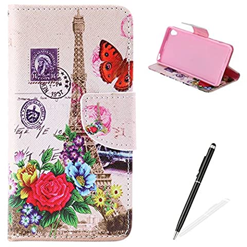 Feeltech Sony Xperia XA Book Style Case,PU Leather Wallet Case Magnetized Closure Card Slots Money Pouch [Free 2 In i Stylu] Hybrid With Stand Function Flip Protective Soft Inner Bumper Cover Case And Credit Holder Lovely Pattern Design For Sony Xperia XA - Effier Tower