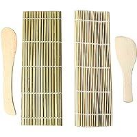 Kit De Fabrication De Sushis En Bambou, Tapis à Rouler Pour Sushis Maki Pour Débutant, 2 Nattes De Bambou, 1 Cuillère en…