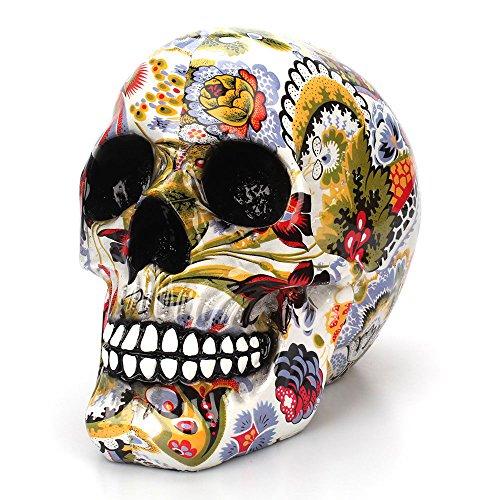 Leegoal Pop Art Calavera Humana para Halloween Decoración, 3D Craneo Replica Ornamental para El Hogar, Chimenea Gotico, Dia de los Muertos, Resina Decoracion Cementerio Terror, Colores