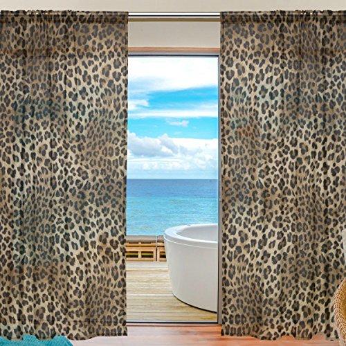 SEULIFE Fenster Sheer Vorhang Animal Tiger Leopard Print Voile Vorhang Drapes für Tür Küche Wohnzimmer Schlafzimmer 139,7x 198,1cm 2Felder 55