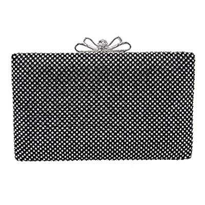 Bonjanvye Bow Purse For Women Rhinestone Crystal Evening Clutch Bags