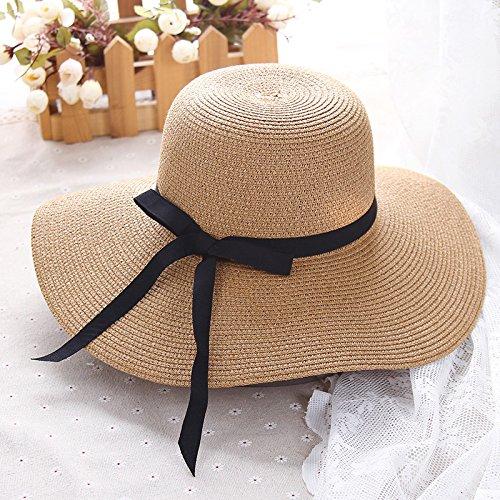 YXLMZ Meine Damen Frauen Hüte im Sommer Sonnenblende faltbare Mode Fischer Hut Seaside Casual Strohhüte Khaki verstellbar (56-58 cm).