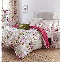 Crema de rosa Rose Floral mezcla de algodón individual reversible 2piezas Juego de ropa de cama