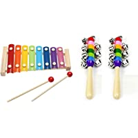 Homesoul Wooden Xylophone with Beaters Size Small, Multi Coloured