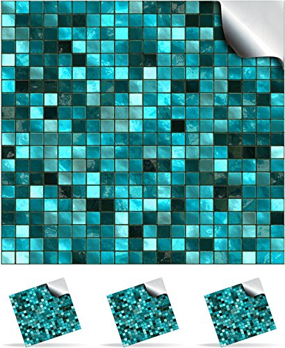 "TP3 - 4"" Turquoise - 30 Printed in 2d Kitchen / Bathroom Tile STICKERS For 100mm (4 inch) Square Tiles – Directly From: TILE STYLE DECALS, No Middleman (4""x4"" - Pack of 30)"