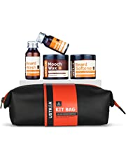 Ustraa Beard Care Grooming Kit with free Travel Bag- Beard Growth Oil (35ml), Beard Wash Woody (60ml), Mooch Wax - Strong Hold (100gm) & Beard Softener Woody (100gm)