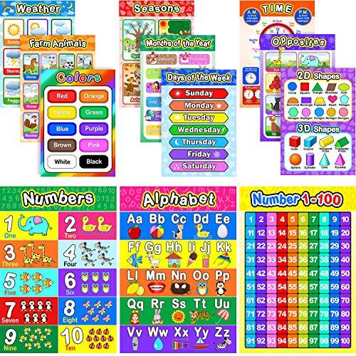 Pósters Educativos Preescolar para Niños con 80 Puntos de Pegamento para Guardería...