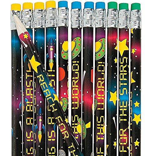 Ufo-radierer (6 x Bleistifte Weltall Ufo Star Stern Sternchen Weltraum Schulanfang Mitgebsel Kindergeburtstag Radierer Radiergummi Bleistift Schultüte)