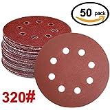 WINGONEER 50PCS Sanding Discs Pads, 5-Inch 8-Hole 320-Grit Gancho y lazo de aluminio de óxido de papel de lija para la orbital orbital Sander