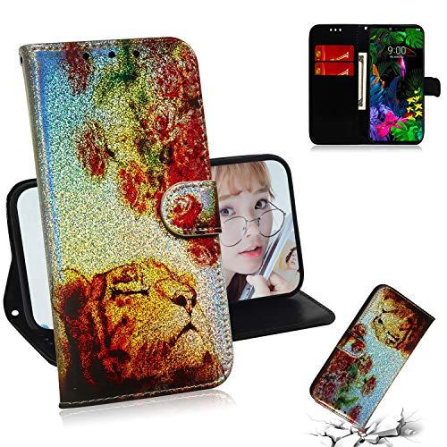Shinyzone Wallet Flip Hülle für LG G8 ThinQ, Bling Glitzer Gradient Lederholster mit Kartenfach,Fantasie Comic Motiv Holographisches Muster,Tiger Rose