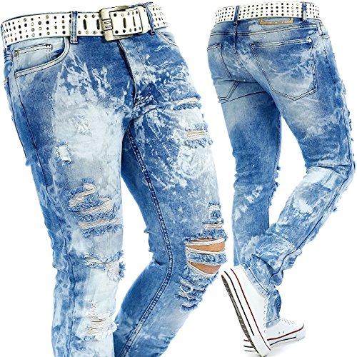 RedBridge Herren Jeans Mens Pants Freizeit-hose Clubwear Biker Style Top Denim Swag Dope Streetwear Modell-22