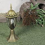 Edle Aussen Garten Sockelleuchte in antik-gold E27 230V Wegbeleuchtung
