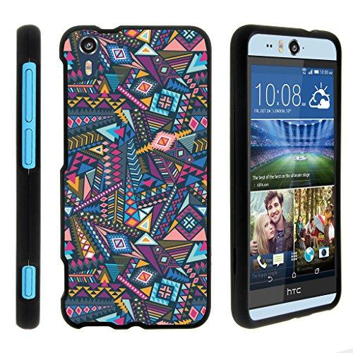 turtlearmor | Kompatibel für HTC Desire Eye Fall [Slim Duo] Slim Snap auf 2Stück Hard Cover Protector Case Mädchen Designs auf Schwarz -, Colorful Tribal Abstract (Htc Desire Virgin Mobile Fall)