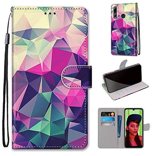 Miagon Flip PU Leder Schutzhülle für Huawei P Smart Z,Bunt Muster Hülle Brieftasche Case Cover Ständer mit Kartenfächer Trageschlaufe,Quadrat