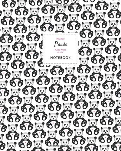 Panda Notebook - Ruled Pages - 8x10 - Premium: (White Edition) Fun notebook 192 ruled/lined pages (8x10 inches / 20.3x25.4 cm / Large Jotter)