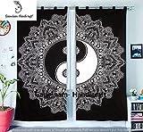 Schwarz & Weiß Fenster tratments Querbehang Schlafzimmer Handgefertigt Wand aufhängen Baumwolle Ying Yang Mandala Tapisserie Vorhang