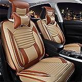 RUIRUI Cubierta de cuero de lujo PU Juego de fundas para asientos delanteros de coche , beige