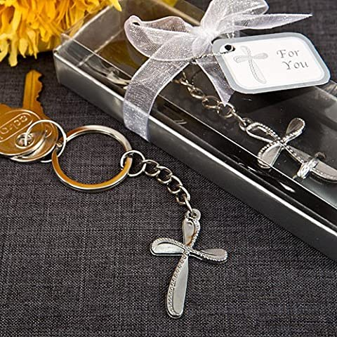 Metal Cross Key Chain With Beaded Design , 84 by Fashioncraft