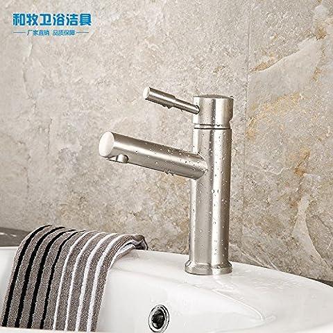 BFDGNResistente e robusto il rame spazzolato Rubinetti per lavandini bagno maniglia in acciaio inox singolo a caldo e a freddo Rubinetti per lavandini bagno (Dare 1/2 Hot &a freddo dei tubi flessibili acqua )