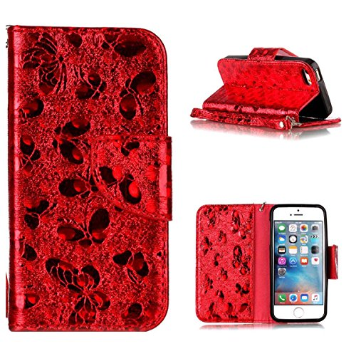 """MOONCASE iPhone 5/iPhone 5s/iPhone SE Flip Cover, [Butterfly Pattern] PU Cuir Étuis Case Built-in Support TPU Antidérapant Housse de Protection pour iPhone 5s/iPhone SE 4.0"""" Bleu Red"""